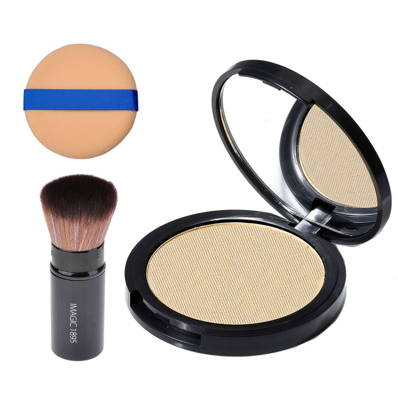 Get Quotations · CCbeauty Illuminator Highlight Compact Powder Makeup Palette + Retractable Foundation Powder Makeup Blush Highlighter Brush and