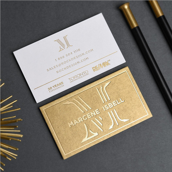 Luxury business card and gold stamping embossed business card printing