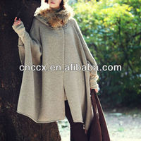 thick free size large seize ladies hooded sweater cardigan wool ponchos capes long cardigan poncho