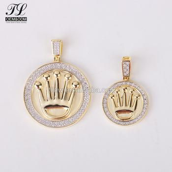 Alibaba Best Seller Custom Hiphop 24k Gold Plated Silver Round Crown Cz  Pendant Men - Buy 24k Gold Plated Silver Custom Pendant,24k Gold Pendant