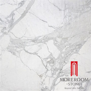 Chinese Calacatta White Porcelain Marble Tile Flooring Tiles With Grey Texture