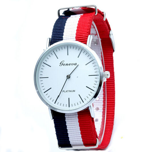 2015 Brand Geneva Watch Luxury Style Watches For Men Women Nylon Strap Military Quartz Wristwatch Reloj knitting Clock 581103K