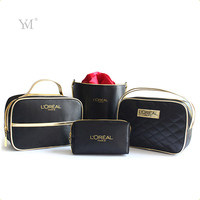 Custom professional fashion luxury portable waterproof satin travel storage organizer make up brush bag set