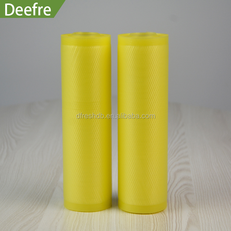 Small Vacuum Seal Bags Airtight yellow embossed textured film roll