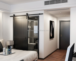 Classic barn doors match with USA standard lock for hotel bedroom /sliding door system with flat tract