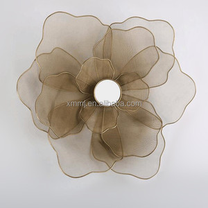 Custom made size round gold color art craft flower design iron wall art