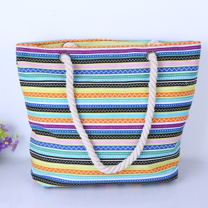 Personalized Custom Horizontal Width Stripe Bag Cotton Tote Bag Folding Beach Canvas Bag
