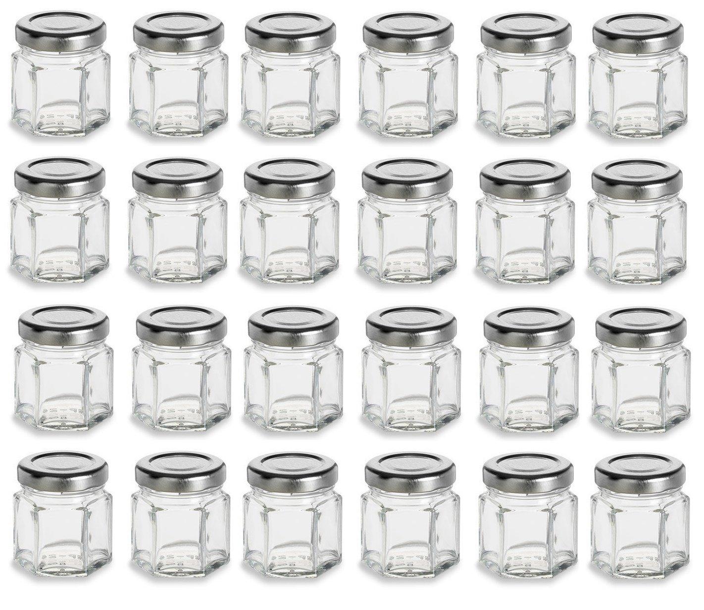 Nakpunar 24 pcs 1.5 oz Mini Hexagon Glass Jars with Silver Plastisol Lined Lids