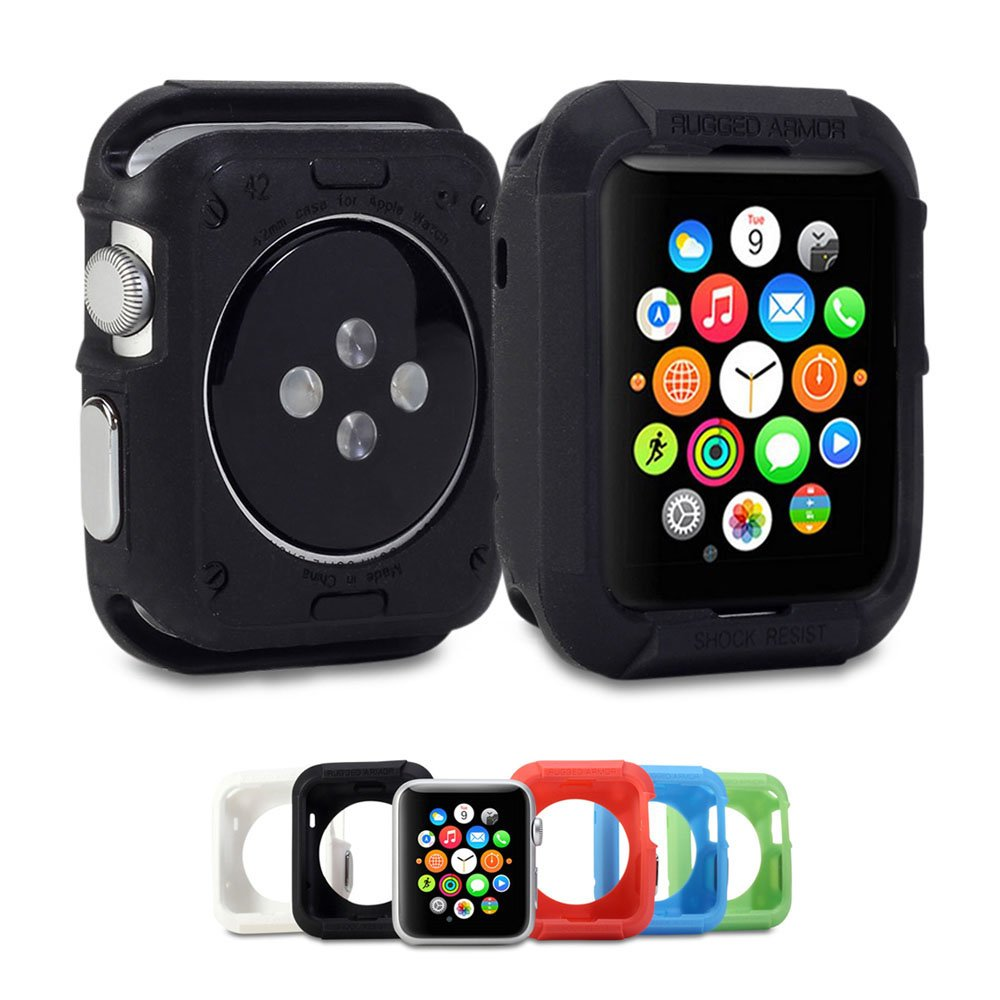 Apple Watch Case, GMYLE Rugged Shock Resist Protection Armor Soft Silicone Rubber Case for Apple Watch 42mm - Matte Black