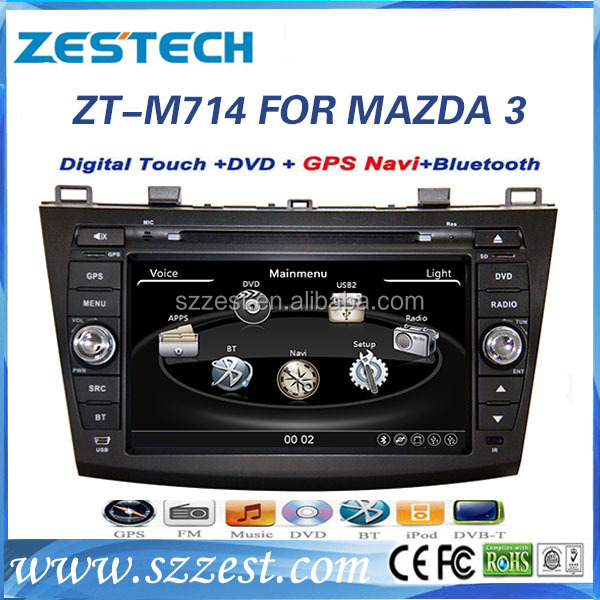 ZESTECH China Factory OEM <strong>2</strong> Din Touch screen all in <strong>1</strong> in dash double din multimedia navigation system for MAZDA <strong>3</strong>