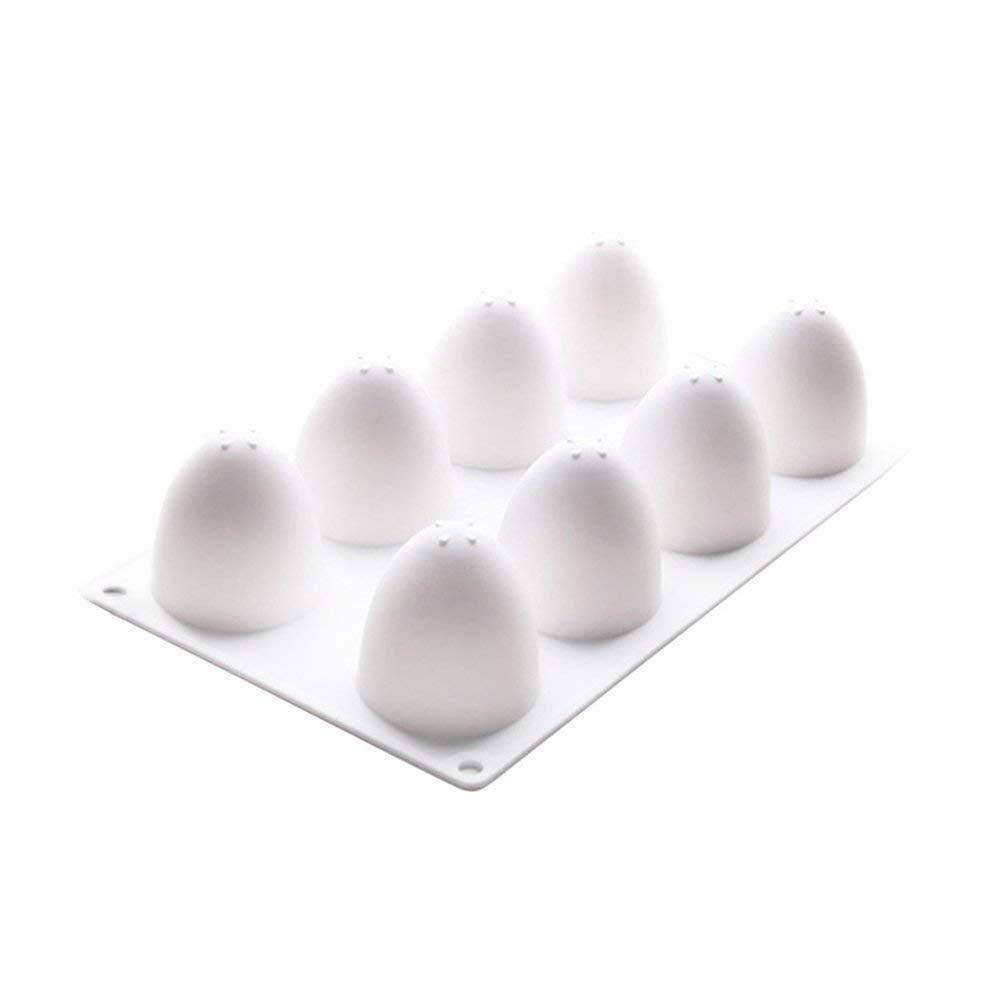 OUNONA 8 Lattices Egg Shape Cake Mold Silicone Baking Tools for Chiffon Mousse Cakes Chocolate Candy
