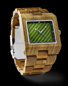 wood case and band carbon fiber dial luxury branded quadrate big size man wooden watches