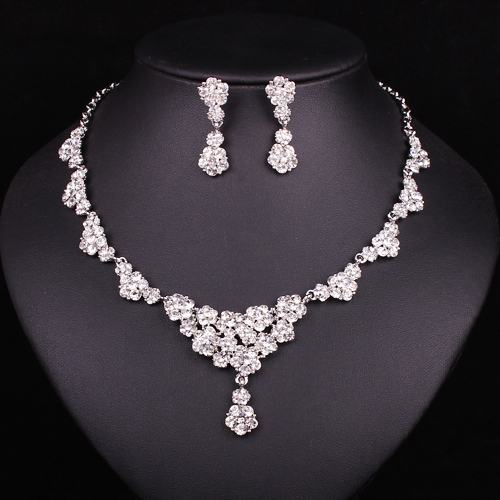 Fashionable Wedding Accessories Crystal Jewelry Set Brides Bridesmaid Or Prom Party Gold Plated Necklace Earring