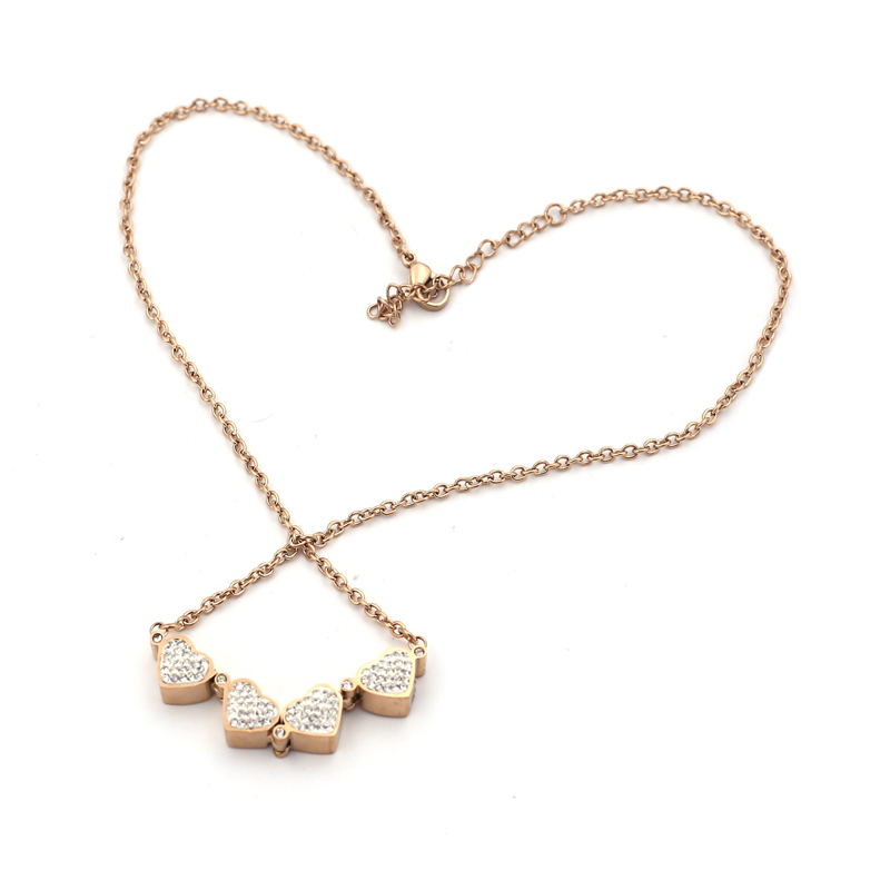 Norway fashion jewelry four leaves clover stones stud zircon pendant, clover necklace brand new chain link neclace