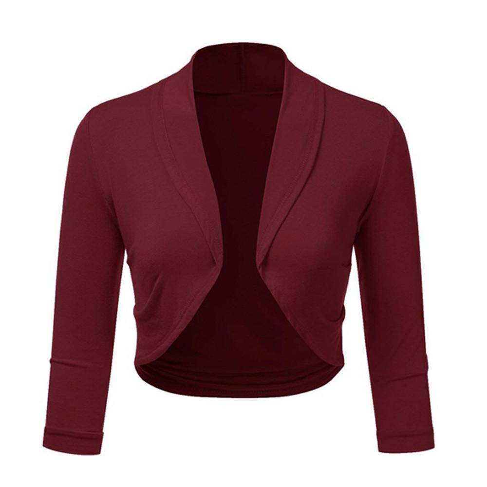 8139eee6d5db3 Women Plus Size Solid Bolero Shrug Open Front Cropped Mini Office Work  Cardigan
