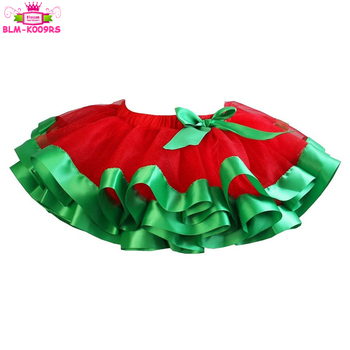 ca4430e393 Xmas Kids Chiffon Fluffy Tulle Pettiskirt Red Christmas Baby Girls Tutu  Skirt With Green Ribbon Trim