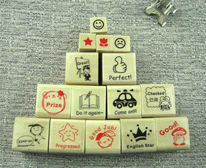 DIY deco stamp/wood gift stamp/Scrabbook decoration New English teachers comments wooden stamp set