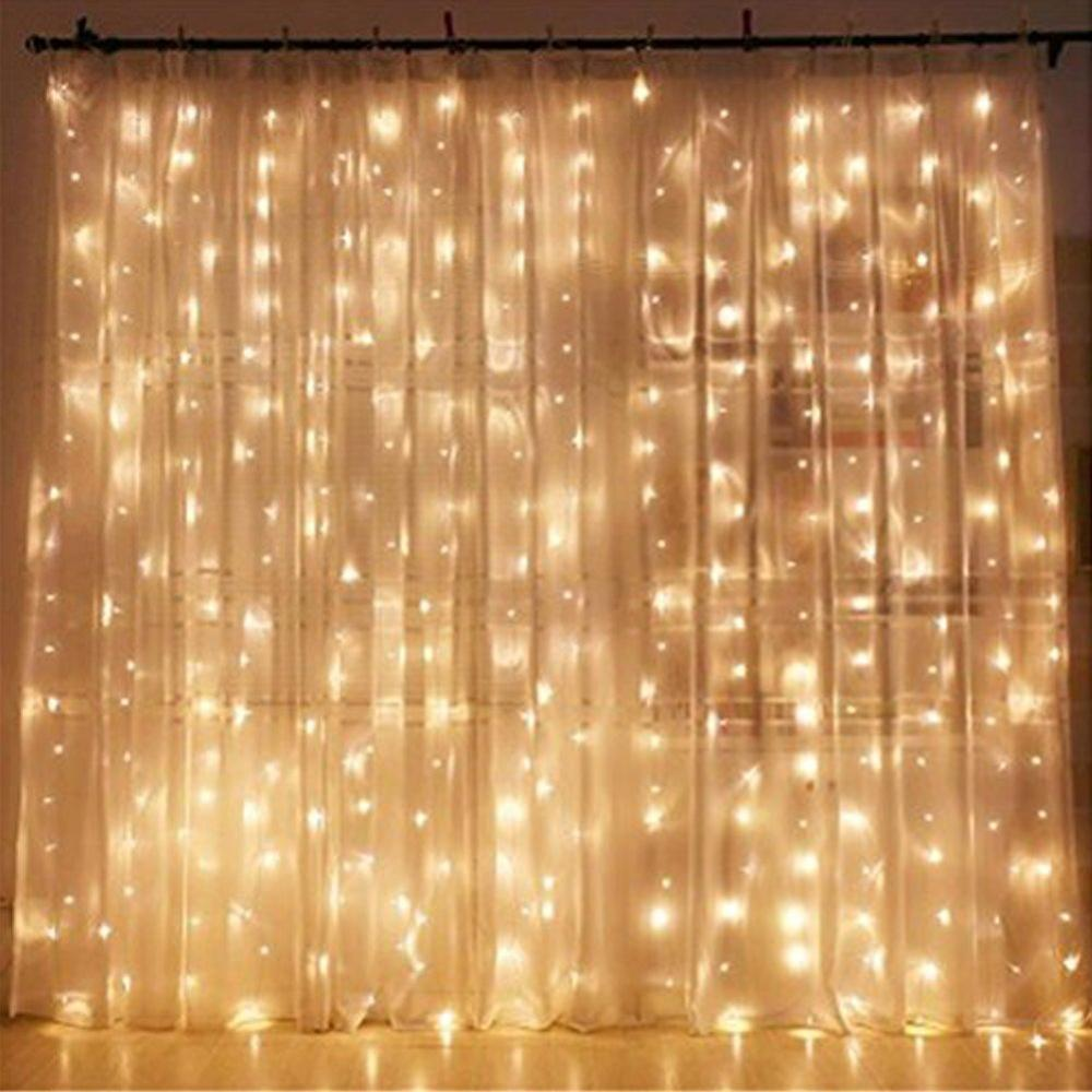 Ranpo 300 LED Window Curtain String Light for Wedding Party Home Garden Bedroom Outdoor Indoor Wall Decorations Warm White