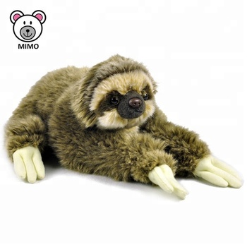 Customize Lifelike Real Fur Plush Sloth Stuffed Wild Animals Wholesale Cheap Cartoon Kids Brand LOGO Vivid Soft Toy Sloth Plush