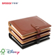 Dongguan leather notebook brown color notebook add pen black printing