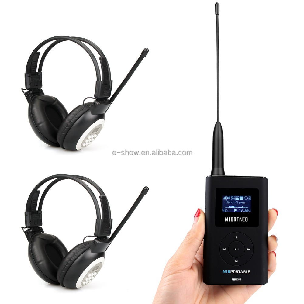 Portable FM Transmitter MP3 Broadcast Radio Transmitter + Headphone for Tour guide fm transmitter for radio station