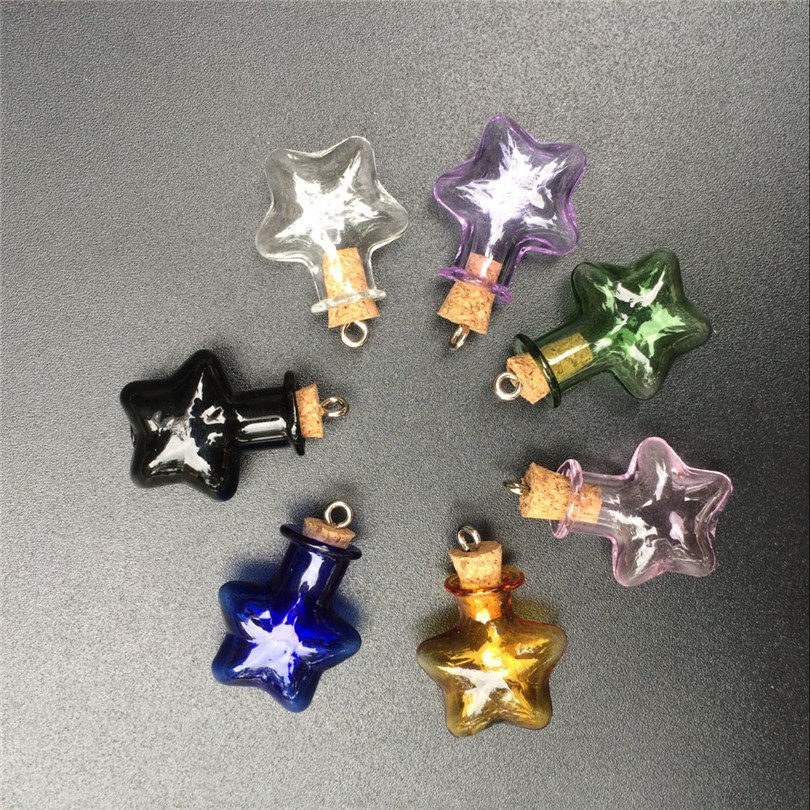 Mini Glass Stars Pendant Bottles With Metal Loop Colors Art Bottles Handmade Wedding Gift Cute Bottles Mix 7Colors 5