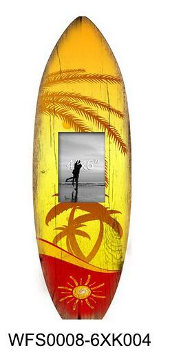 Surfboard Shape Design Wooden Photo Frame With Coconut Tree Leaves ...