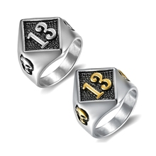 Custom design Motor Biker 운 수 (<span class=keywords><strong>13</strong></span> 링 316L Stainless Steel Men Boys 은 쿨 Man Biker Skull 링