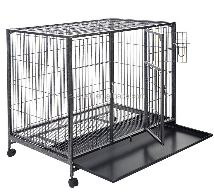 Heavy Duty Square Tube Large Dog Kennel / Pet Cage Crate / Home & Garden Dog Cage With Wheels