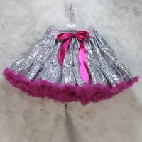 Fashion Silver Sequin Tutu Pettiskirt Fluffy Kids Girls Chiffon Ballet Skirt