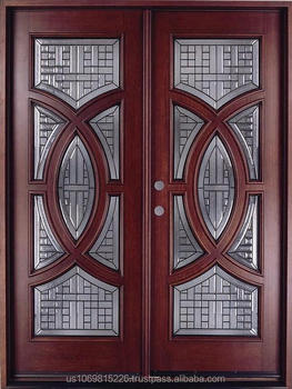 Double Mahogany Circular Deluxe Gl18 5 Solid Wood Entry Door Dmh7588