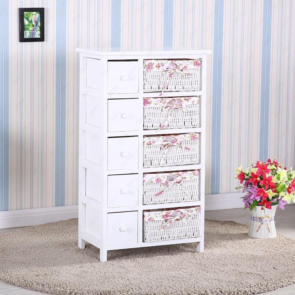 Get Quotations · Homejoys Bedroom Storage Dresser Chest 5 Drawers W/Wicker  Baskets Cabinet Wood U0026 5 Drawers