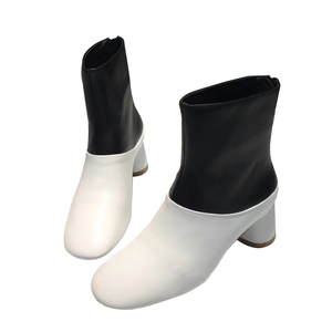 Hot sale genuine leather square toe high-top ladies ankle boots chunky block heel black and white assorted colors slip-on