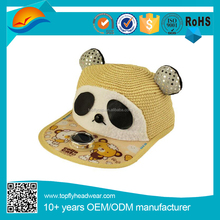 Cartoon panda solar fan straw fabric snapback caps for children