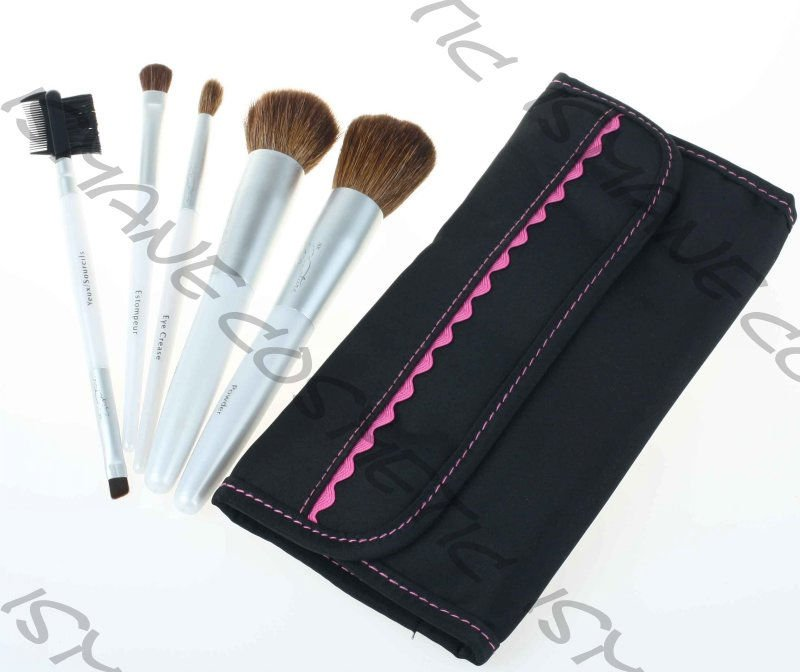 Old Stocks White Goat Hair & Nylon 5pcs Wood Handle Aluminum Ferrule Makeup Brushes Set/ Paypal Accept