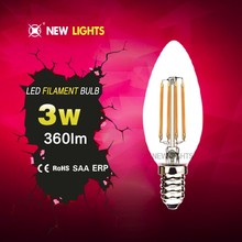 2016 hot selling product C35 led filament bulb 2w 4w dimmable CE ROHS SAA UL certs