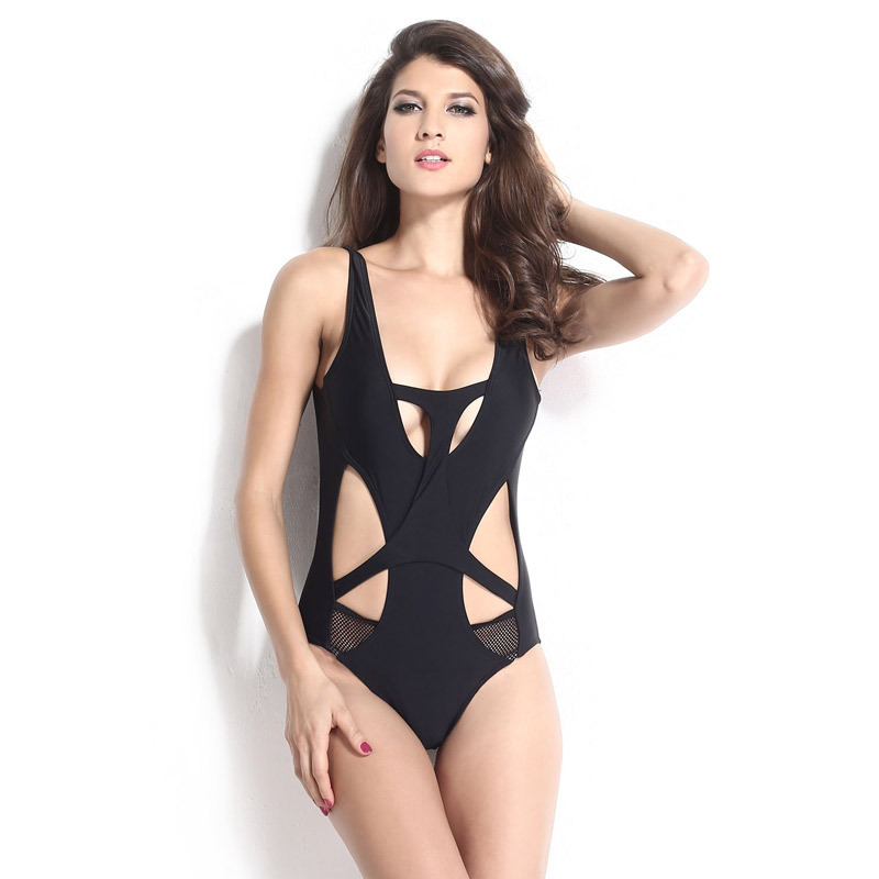 2015 Black One Piece Bathing Suits Mesh Patchwork Women's Swimsuits Dames Vestidos Swimwear OB0035