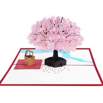2018 New Design Cherry Blossom Tree 3d Pop Up Handmade Card For