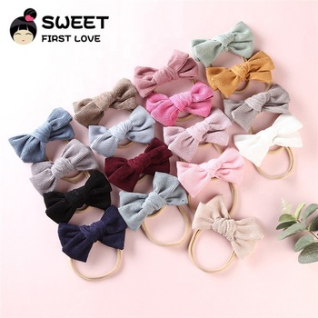 Promotional Fancy Lovely Colorful Fashion Top Baby Hair Accessories Attractive Headband pretty corduroy fabric bow nylonheadband