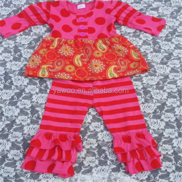 Fancy Branded Long Sleeve Floral Top And Triple Ruffle Stripe Pant Name Brand Kids Clothing Wholesale