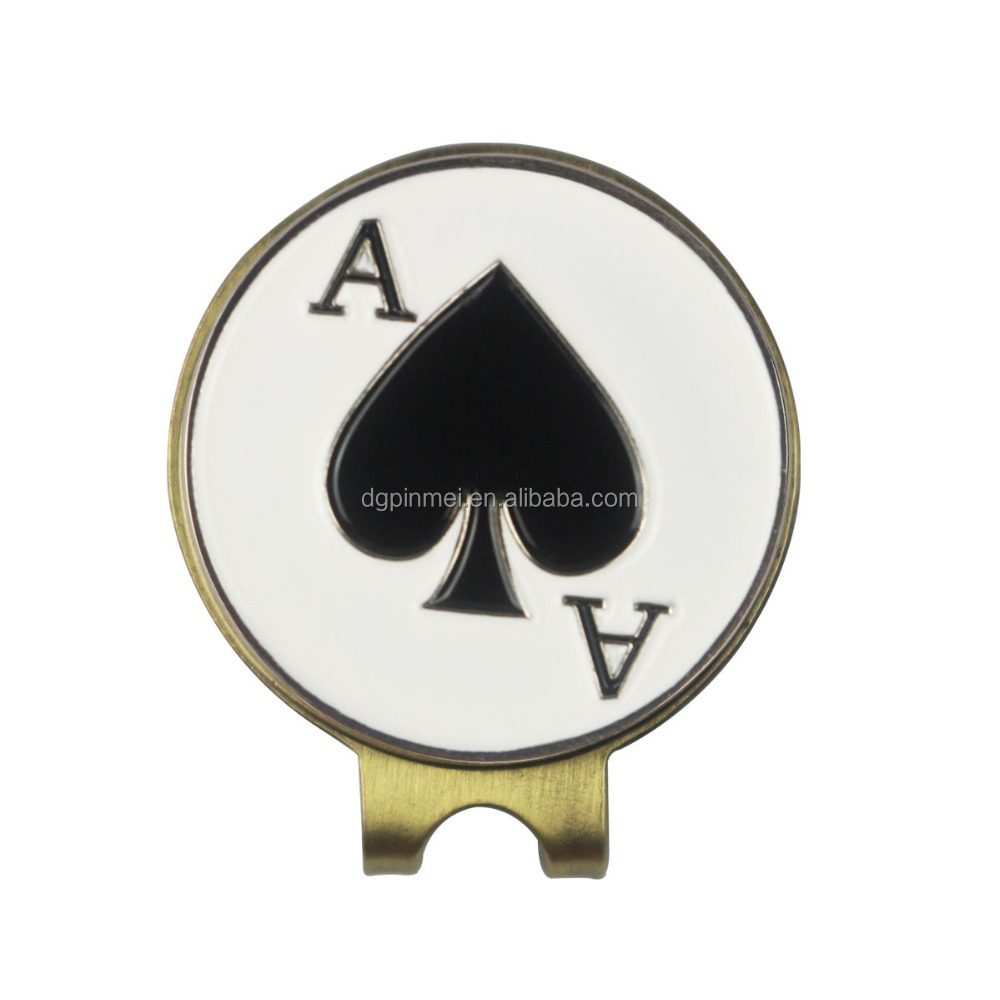 In bulk assorted poker ace golf magnetic hat clip with ball marker