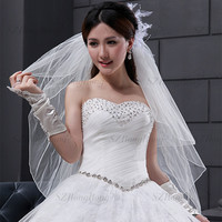 BV1949 SuZhou Wedding Accessories Pencil Trim Wedding Dress Veil 3T Short White or Ivory Bridal Veils