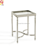 glass top end table with metal frame ET-2018