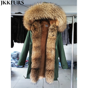 Classic Fashion Fur Parka Women Fashion Design Long Jacket Faux Fur Lined Coat with Real Raccoon Fur Hood