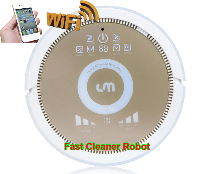 Smartphone WIFI APP Control air cleaner robot and Air purifier with water tank,3350MAH Lithium battery