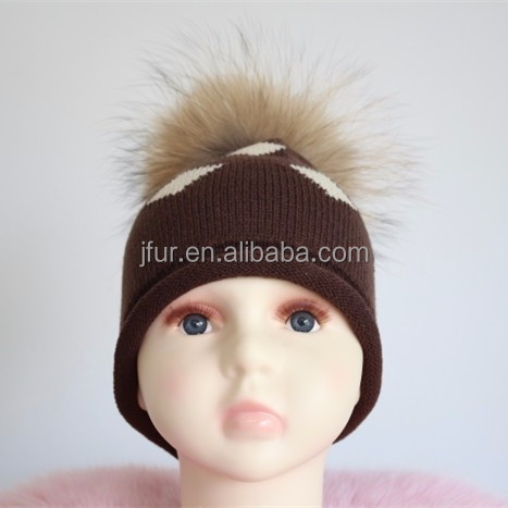 2017 New Collection Big Raccoon Fur Ball Baby Beanie Hat Animal Fur Pompom Knitted Cap