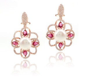 Earn money online more popular fashion 925 silver flower big pearl earring