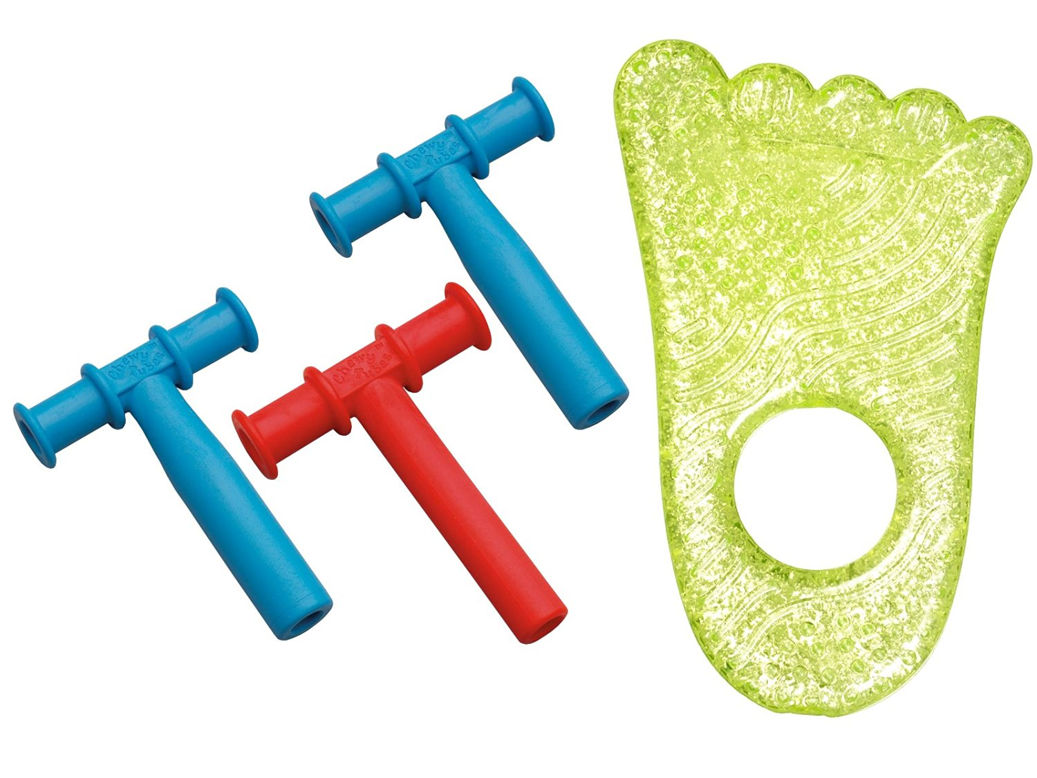 Chewy Tubes Teether 3 Pack, (Blue/Red/Blue) with Fun Ice Chewy Teether