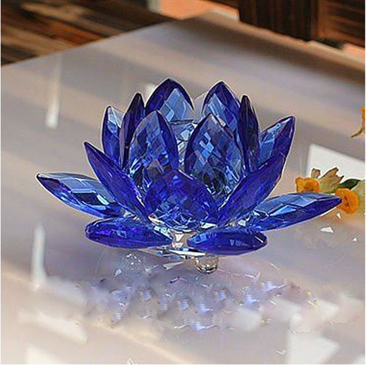 Crystal 3 Inch Sapphire Flower Feng Shui Home Decor Blue Crystal Lotus