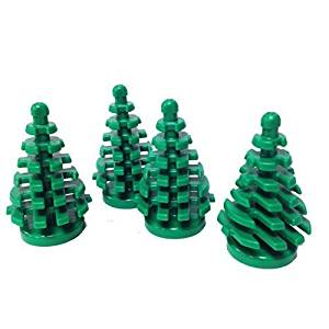 Lego Parts: Plant, Tree Pine Small 2 x 2 x 4 (Pack of 4 - Green)
